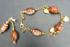Football bracelet & earrings