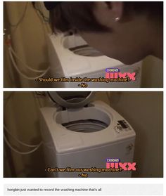 The daily struggles of being Hongbin ... not being able to film the inside of a washing machine ...