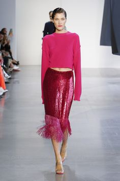 Sally LaPointe Spring 2019 Ready-to-Wear Fashion Show Collection: See the complete Sally LaPointe Spring 2019 Ready-to-Wear collection. Look 25 Pink Fashion, Love Fashion, Runway Fashion, Fashion Outfits, Fashion Tips, Fashion Design, Womens Fashion, Feminine Fashion, Fashion Websites