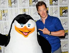 Benedict Cumberbatch with a penguin at San Diego Comic Con for the Dreamworks Animation panel on PENGUINS OF MADAGASCAR (2014), on July 24, 2014.