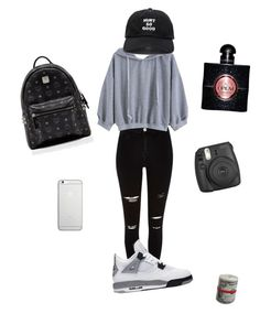"""School👊"" by annaseulen on Polyvore featuring Fujifilm, Native Union, River Island, Blackfist, MCM, Yves Saint Laurent, Rich and scholl"