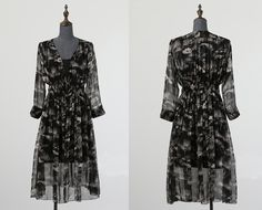 ABSTRACT CLOUDS PATTERN SILK DRESS