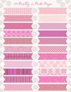 22 Pretty in Pink Printable Flag Set For by DigitalConfectionery, $2.99