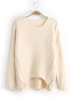 Beige Plain Zipper Round Neck Cotton Blend Sweater