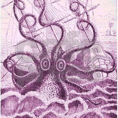 Giant Kraken sea monster engulfs an old time sailing ship. Arrggg. nom nom.