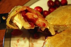 Baked Brie with cranberries and pears...perfect for a Thanksgiving appetizer