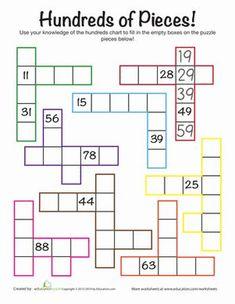 First Grade Math Worksheets: Hundreds Chart Challenge Math Classroom, Kindergarten Math, Teaching Math, Formation Continue, Math Enrichment, Second Grade Math, Grade 2, Math For First Graders, Year 2 Maths