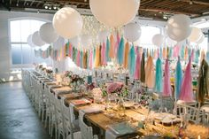 Sorbet paper tassels and giant balloons