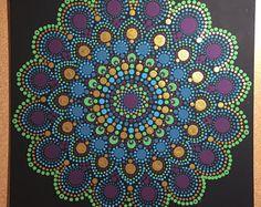 Handmade Peacock Inspired 12x12-inch Dot Mandala Canvas, Dotilism, Wall Art, Dot Painting