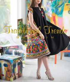Black, Tassels and Colors! 🌈 Size:Freesize fits up to size 14 uk Pric Pakistani Fashion Casual, Pakistani Dresses Casual, Pakistani Dress Design, Abaya Fashion, Fashion Dresses, Fashion Fashion, Fashion Tips, Afghan Clothes, Afghan Dresses