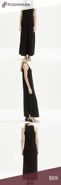 """Madewell Tank Maxi Dress NWT Black Madewell sleeveless tank maxi dress, flowing sleek style, minimalist shape and tee-soft jersey. Front inverted pleat, side slits, and back zip closure. Nonwaisted. Laying flat shoulder to hem measures about 55"""". 100% Cotton. Madewell Dresses Maxi"""