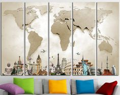 Rescue your blank walls with beautiful gallery wrapped canvas prints world map canvas print wall art multi panel world map wall gumiabroncs Image collections