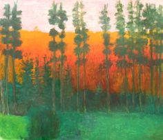 Yellowstone Silhouette Artist: Wolf Kahn Completion Date: 2008 Style: Color Field Painting, Expressionism Genre: landscape