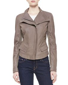 Long-Sleeve Leather Jacket at Neiman Marcus