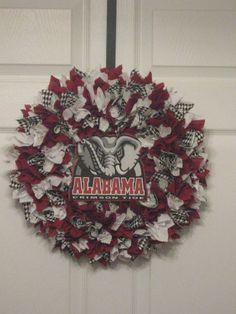 14 Alabama Crimson Tide Fabric Wreath by on Etsy Alabama Football Wreath, Alabama Wreaths, Crimson Tide Football, Alabama Crimson Tide, Wreath Crafts, Diy Wreath, Door Wreaths, Alabama Crafts, Alabama Baby