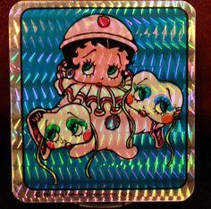 RARE Vintage Vending Machine Sticker Prism Betty Boop Clown Drama 1985