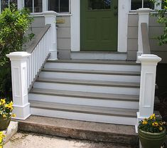 New Ideas For Exterior Stairs Entrance Front Porches Outside Stairs, Front Porch Railings, Front Stairs, Front Porch Design, Outdoor Stairs, Stairs Trim, White Stairs, Front Porches, Front Door Steps