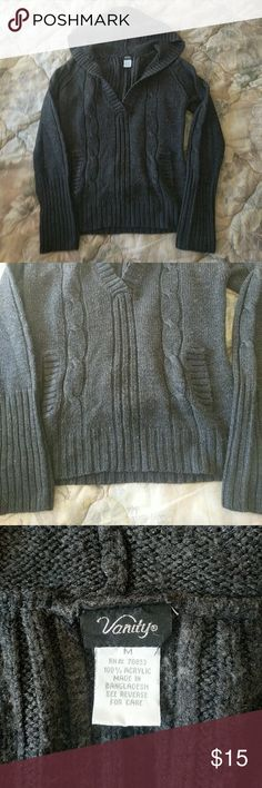 Vanity Hooded Sweater Like new. Dark grey Vanity hooded b-day sweater with pockets size M. Smoke free home. I do have pets. ?? Open to reasonable offers! Vanity Sweaters V-Necks
