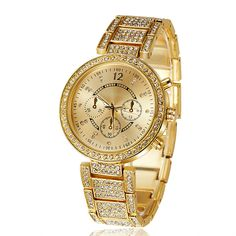 2016 high quality full rhinestones fashion women dress watches Gold and Silver Luxury ladies wristwatches female atmos clock  Price: US $13.99  Sale Price: US $13.99  #dressional
