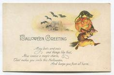 Vintage-Halloween-Postcard-Black-Cat-Witch