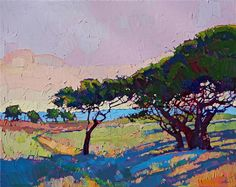Cypress oil painting of Pebble Beach, by California impressionist Erin Hanson