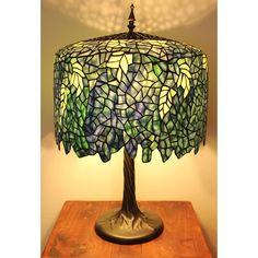 Blue Wisteria Tiffany Style Lamp w/ Tree Trunk Base - Overstock Shopping - Great Deals on Tiffany Style Lighting