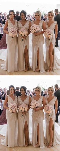 Sexy V-neck Long Tulle Leg Split Mermaid Bridesmaid Dresses,B0007 Beige  Bridesmaids 7e721ba00044