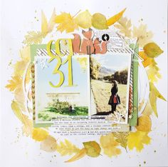 fall theme scrapbook layout - watercolor - layered - 2 photo layout - leaves