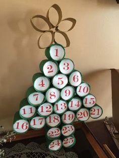 Homemade Advent Calendars, Diy Advent Calendar, Kids Calendar, Calendar Ideas, Toilet Paper Crafts, Toilet Paper Roll, Advent For Kids, Sheet Music Crafts, Advent Calenders