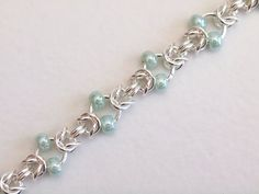 Mint Green Beaded Bracelet Byzantine Chainmaille by PJsPrettys