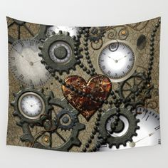 Steampunk II Wall Tapestry by - Small: x Fabric Shower Curtains, Fabric Decor, Bathroom Accessories, Wall Tapestry, Steampunk, Abstract, Stuff To Buy, Summary, Bathroom Fixtures