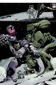 Preview pages from Indestructible Hulk #14.  Written by Mark Waid. Drawn by Mahmud Asrar and coloured by Val Staples.