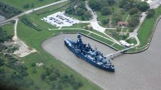 """The Battleship Texas """"USS Texas"""" near City of La Porte, TX.  Aerial photo taken by Ben Huynh, REALTOR® under the wing of Cessna 172's on March 16 2012 #BenHuynhREALTOR"""