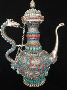 Nepal Art, Vases, Golden Fish, Silver Dragon, Dragon Crafts, Art Nouveau, Coral Turquoise, Buddhist Art, Mythical Creatures
