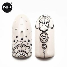 Black and white dotted nail art