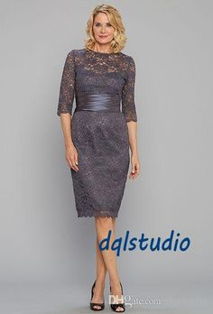 Gray Lace Mother Of The Bride Dreses Half Sleeve Knee Length Lace Party Dresses Zipper Back Wedding Party Gowns Cheap Mother Of Groom Dress Mother Of The Bride Dresses Brisbane From Dqlstudio, $82.71| Dhgate.Com