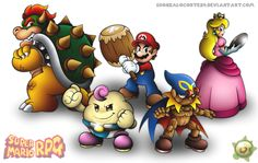 Made in Edited by Super Mario RPG: Legend of the Seven Stars (known as Super Mario RPG in Japan, sometimes referred to as S. Geno Super Mario Rpg, Super Mario Art, Super Mario World, Mario And Luigi, Mario Bros, Video Game Art, Video Games, Leo, Princess Toadstool