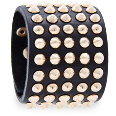 MANGO Spiked leather bracelet (56 BRL) ❤ liked on Polyvore featuring jewelry, bracelets, accessories, mango, black, spikes jewelry, mango jewelry, leather bangles, leather jewelry and spike bangle