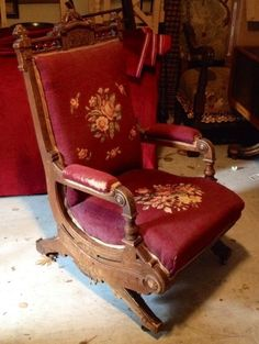 Antique Estate Victorian Eastlake Carved Rocker Rocking Chair Needle Point
