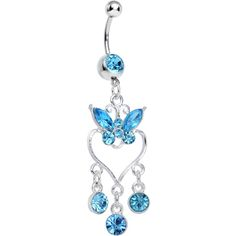 Aqua Gem Butterfly Hollow Heart Gem Dangle Belly Ring | Body Candy Body Jewelry #bodycandy #piercings #bellyring
