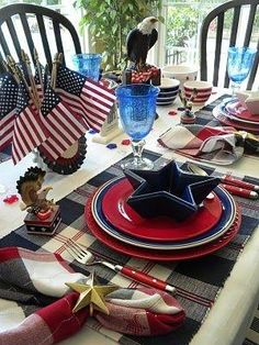 Table setting for a patriotic event, 4th July, Veteran's Day, Memorial Day or just for a good old American BBQ.  Get out the Red White & Blue.