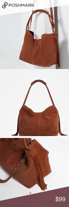 """HOST PICK! ZARA 100% Leather Suede Bag Brand new with tags and dust bag. Never used. Terracotta 100% COW LEATHER bag with fringe detailing on sides. Adjustable and detachable shoulder strap. Lined. Magnet fastening. 11.4"""" x 12.6"""" x 4.7"""". Cheaper on Ⓜ️, just ask :) Zara Bags"""