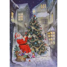Santa's Christmas Tree Glittered Advent Calendar ~ England