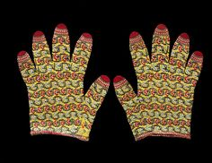 mid 19 c. Pair of men's gloves. Knit. Fine shawl wool. India, north (probably Kashmir) Dimensions: Length: 21.5 cm, Length: 8.5 in., Width: 6 in. including thumb. Yellow ground with horizontal rows of scrolling black stems, squared into a key or battlement design, & a row with red & white rosettes repeating alternately with grey & white. Finger tips are red. Museum number IM.145&A-1926. | Victoria & Albert Museum
