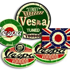 VESPA STICKER x3 RACE RETRO SURF VW STICKER OLD SCHOOL VINTAGE