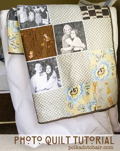 Photo Quilt or maybe squares that represent family trips, special life events or cloth-tee shirts-old blankets that could be incorporated