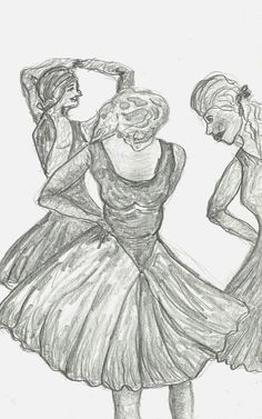 Dancers in Blue Original Art Study Pencil by FreelyExpressed, $18.00
