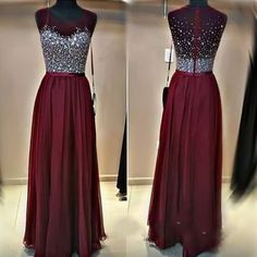 Burgundy Beading Charming Prom Dresses, Floor-Length Evening Dresses,Prom Dresses