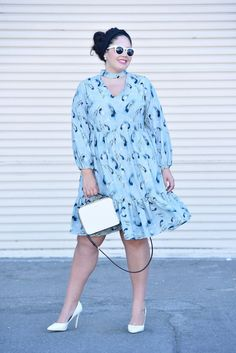 How to Style a Choker Neck Dress via @GirlWithCurves