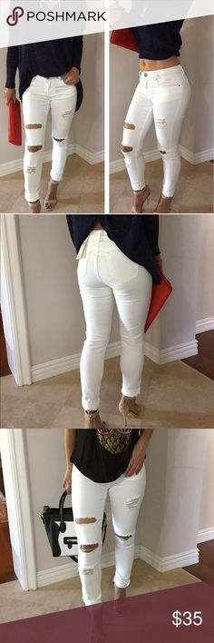 """Butt lifting White distress skinny jeans Brand New , Never Worn.  Curve Control Soft and stretchy distress skinny jeans in white.  Super Cute and flattering to Your Butt and leaner legs.  Cotton/polyester /Spandex blend material .  Size 3 inseam 30"""", waist 26"""",  Size 5 inseam 30.5"""", waist 27"""" Size 7 inseam 30.5"""", 28"""". These jeans have stretch .No trades . Bundle for 10% Saving. Jeans Skinny"""